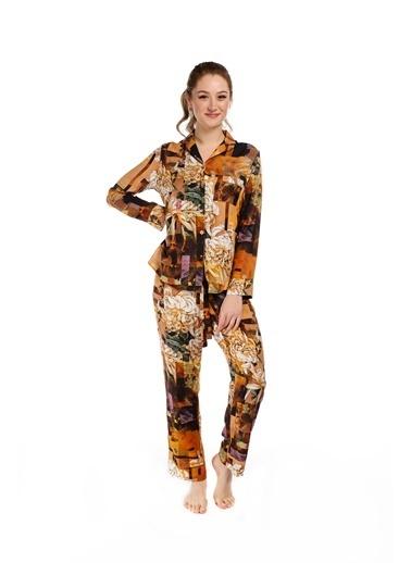 Pamuk & Pamuk Kadın Kahverengi Çiçek Desenli Gömlek Kadın Pijama Takımı Renkli